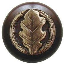 Notting Hill Cabinet Knob Oak Leaf/Dark Walnut Antique Brass