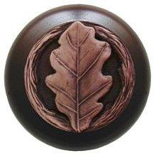 Notting Hill Cabinet Knob Oak Leaf/Dark Walnut Antique Copper