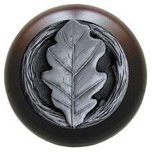 Notting Hill Cabinet Knob Oak Leaf/Dark Walnut Antique Pewter