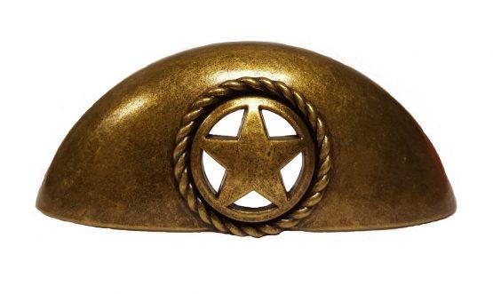 Buck Snort Lodge Decorative Hardware Cabinet Pull Sheriff Star Cup