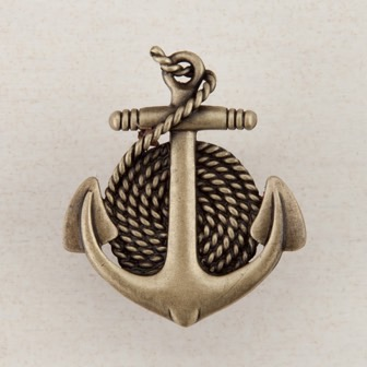 Acorn Manufacturing Anchor Rope Cabinet Knob Antique Brass