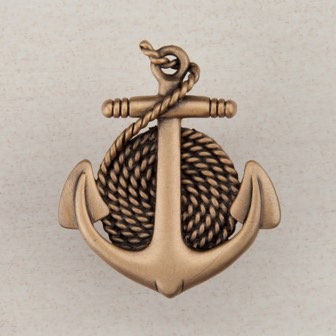 Acorn Manufacturing Anchor Rope Cabinet Knob Museum Gold