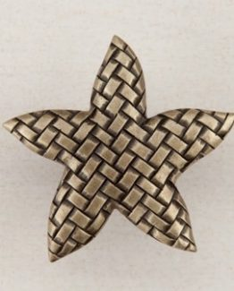 Acorn Manufacturing Woven Star Cabinet Knob Antique Brass