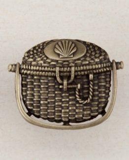 Acorn Manufacturing Nantucket Basket Cabinet Knob Antique Brass