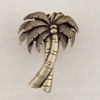 Acorn Manufacturing Palm Tree Cabinet Knob Antique Brass