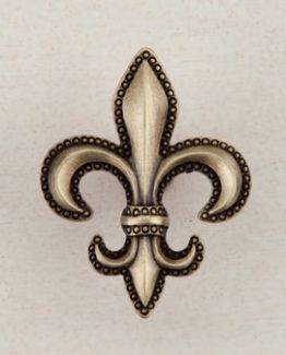 Acorn Manufacturing Fleur-De-Lis Cabinet Knob Antique Brass