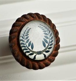 Charleston Knob Company Laurel Wreath Iron Base Cabinet Knob