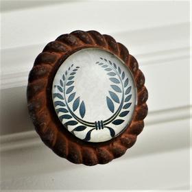Charleston Knob Company Laurel Wreath Iron Base Cabinet Knob