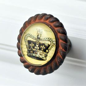 Charleston Knob Company Kings Crown Antique Iron Base Cabinet Knob