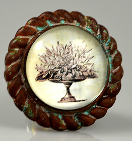 Charleston Knob Company Oak Leaves Antique Iron Base Cabinet Knob