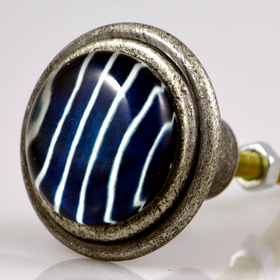 Charleston Knob Company Blue Strip Burnished Silver Cabinet Knob
