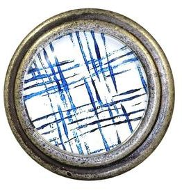 Charleston Knob Company Blue Check Silver Base Cabinet Knob