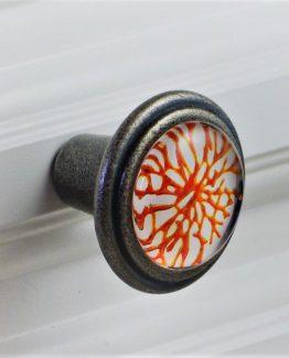 Charleston Knob Company Orange Coral Silver Base Cabinet Knob
