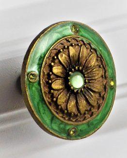Charleston Knob Company Teal Green Cloisonné Jewel Cabinet Knob