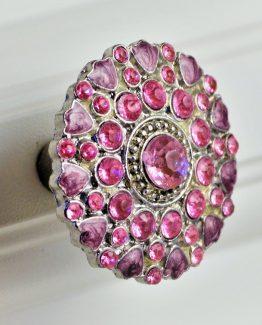 Charleston Knob Company Pink Cloisonné Jewel Cabinet Knob