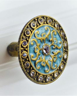 Charleston Knob Company Blue Cloisonné Jewel Cabinet Knob