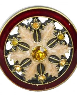 Charleston Knob Company Gold Ruby Cloisonné Jewel Cabinet Knob