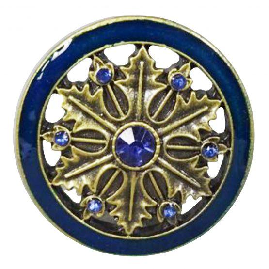 Charleston Knob Company Gold Blue Cloisonné Jewel Cabinet Knob