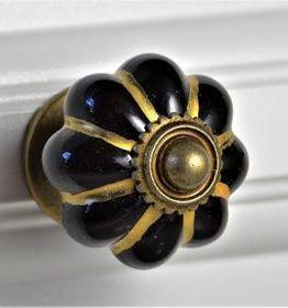 Charleston Knob Company Black Gold Melon Ceramic Cabinet Knob