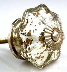 Charleston Knob Company Glass Silver Gold Parasol Cabinet Knob