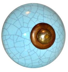Charleston Knob Company Ceramic Crackled Turquoise Cabinet Knob