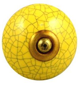 Charleston Knob Company Ceramic Crackled Yellow Cabinet Knob