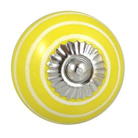 Charleston Knob Company Ceramic Yellow White Stripe Cabinet Knob