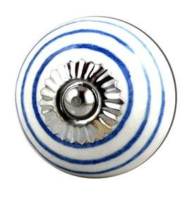 Charleston Knob Company Ceramic Blue White Stripe Cabinet Knob