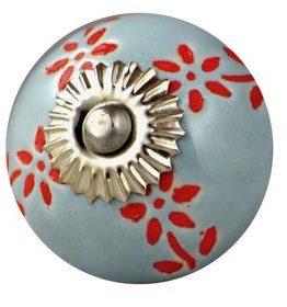 Charleston Knob Company Grey Cabinet Knob Red Etching Ceramic