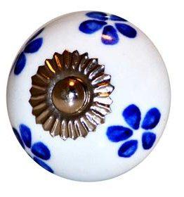 Charleston Knob Company Blue Floral White Cabinet Knob
