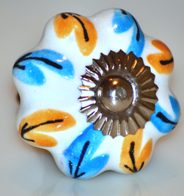 Charleston Knob Company blue yellow,ceramic cabinet knob
