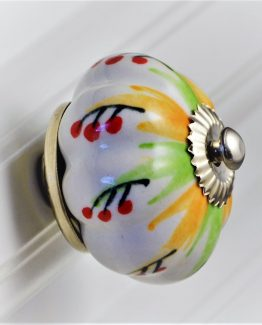 Charleston Knob Company Handpainted Green Yellow Cabinet Knob