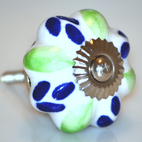 Charleston Knob Company Ceramic Green Blue HandPainted Cabinet Knob
