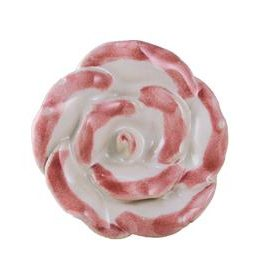 Charleston Knob Company Pink White Ceramic Flower Knob