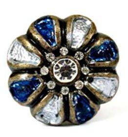 Charleston Knob Company Blue Jeweled White Enamel Cabinet Knob