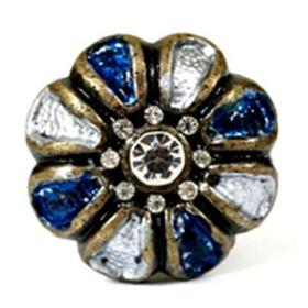 Charleston Knob Company Blue Jeweled White Enamel Cabinet Knob