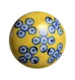 Charleston Knob Company Blue White Yellow Ceramic Cabinet Knob