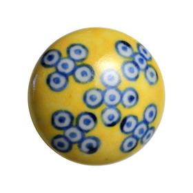 Charleston Knob Company Blue White Yellow Ceramic Cabinet Knob