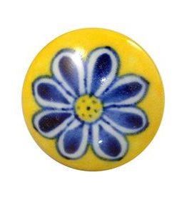 Charleston Knob Company Blue Flower Yellow Ceramic Cabinet Knob