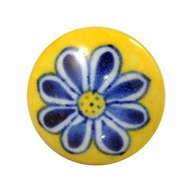 Charleston Knob Company Blue Flower Yellow Ceramic Cabinet Knob