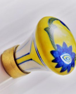 Charleston Knob Company Blue Floral Yellow Ceramic Cabinet Knob