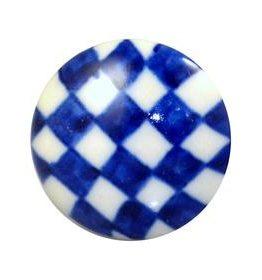 Charleston Knob Company Blue Check Ceramic Cabinet Knob