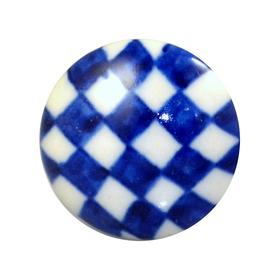 Charleston Knob Company Blue Check Ceramic Cabinet Knob