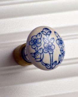Charleston Knob Company Blue Floral White Ceramic Cabinet Knob