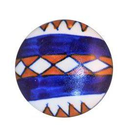 Charleston Knob Company Rust White Blue Ceramic Cabinet Knob