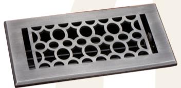 Deco & Deco 4X10 Cast Aluminum Art-Deco Floor Register Pewter