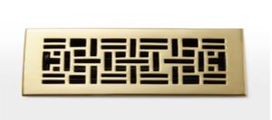 Deco & Deco 4X10 Solid Brass Mid-Century Floor Register Satin Nickel