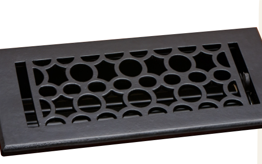 Deco & Deco 4X10 Cast Iron Art-Deco Floor Register Black
