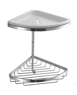Colombo Designs Double Corner Shower Basket w / Ceramic Dish - Chrome