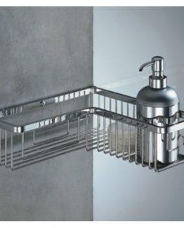 Colombo Designs Large L-Shaped Shower Basket - Chrome